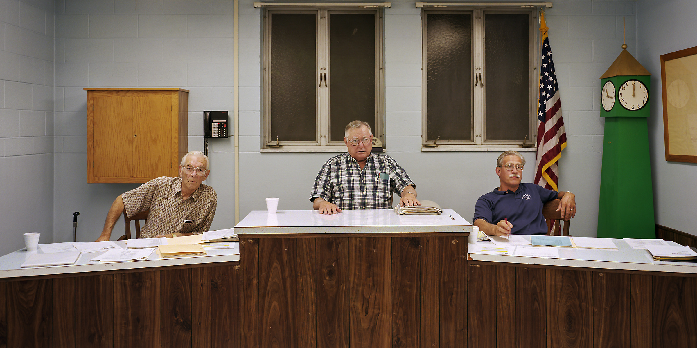 Markle, Indiana (population 1,228) Town Council, July 21, 1999 (L to R): Wayne Ridgley, Jay Fox (President), Jeff Stockman, 1999.