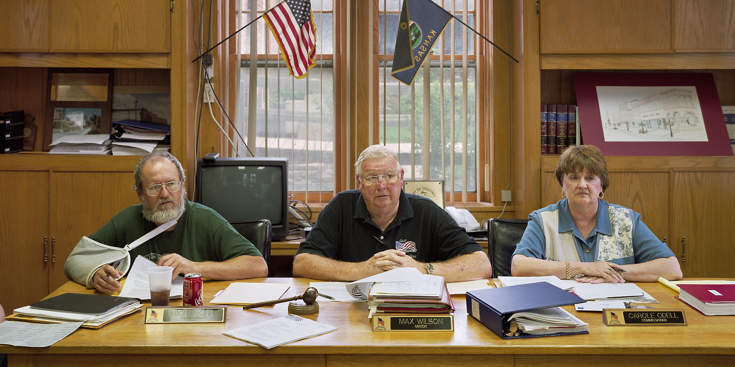 Fredonia, Kansas (population 2,484) Board of Commissioners, May 20, 2002 (L to R): Eldon McGinnis, Max Wilson (Mayor), Carole Odell, 2002.
