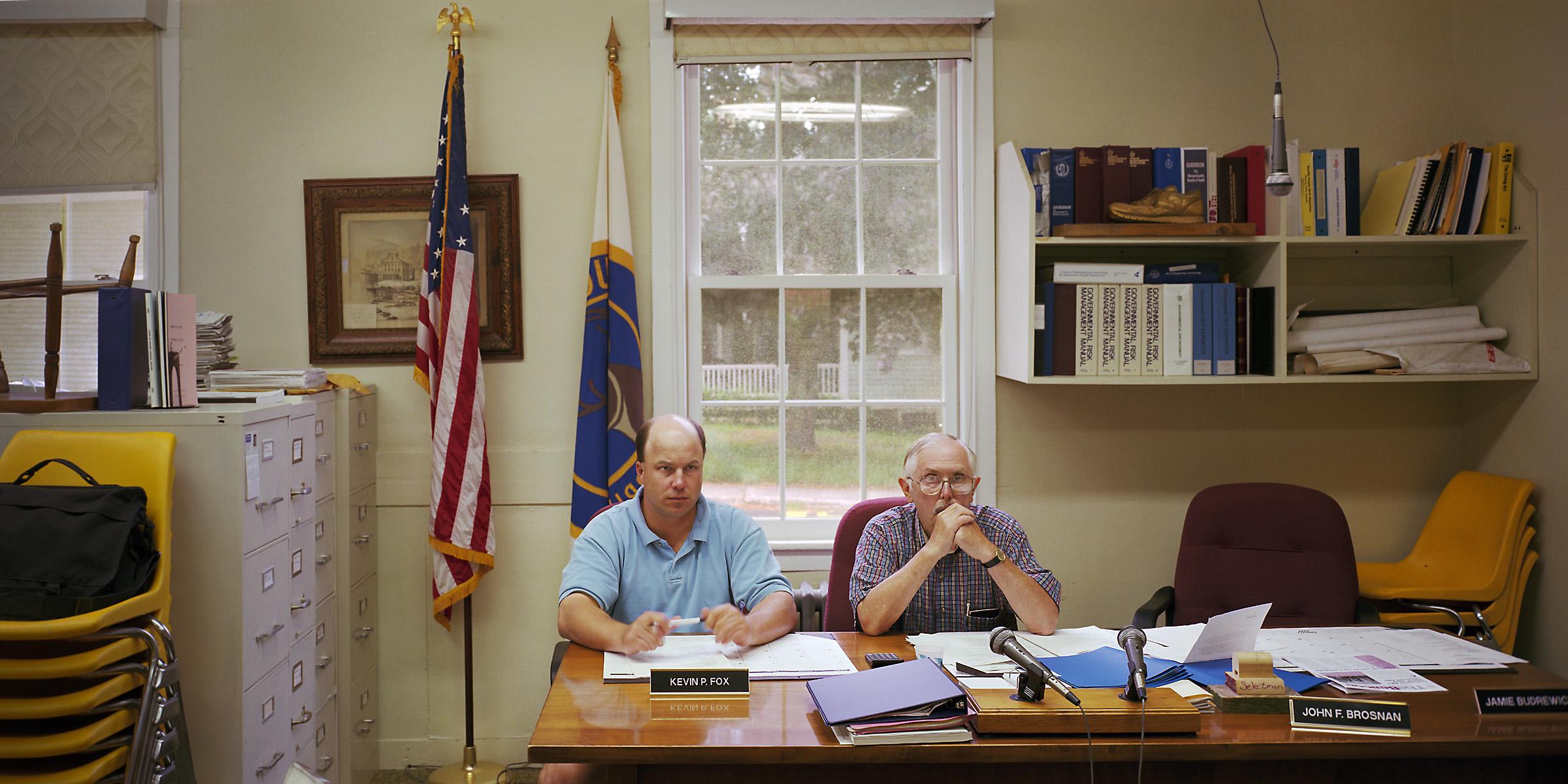 Buckland, Massachusetts (population 1,943) Board of Selectmen, July 27, 1999 (L to R): Kevin P. Fox, John F. Brosnan (Chair), 1999.