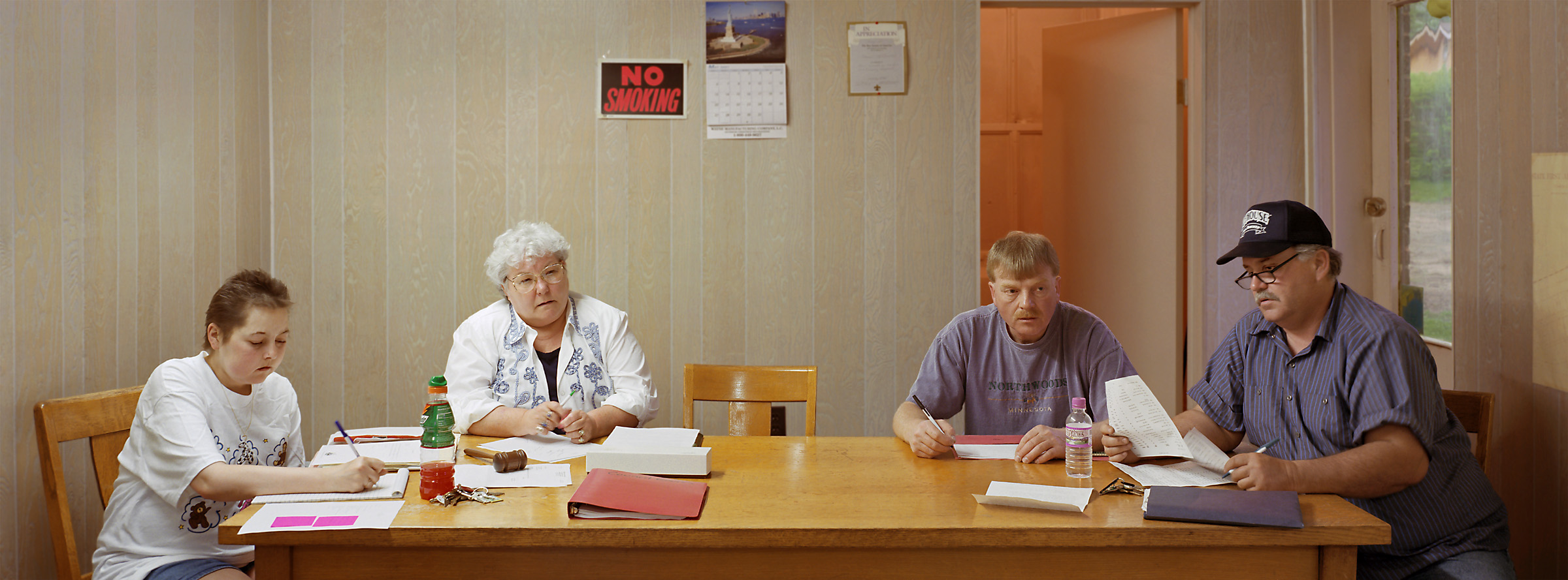Calumet, Minnesota (population 383) City Council, May 15, 2001 (L to R): Julie Childs (City Clerk), Connie Swanson (Mayor), John Anderson, Daniel Strand, 2001.