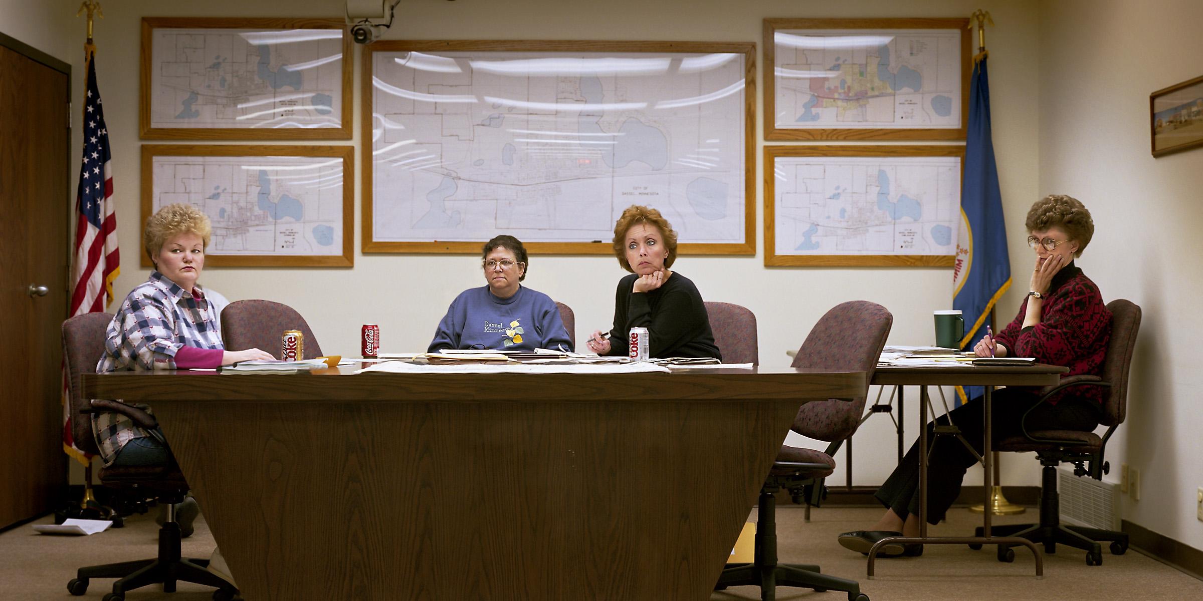 Dassel, Minnesota (population 1134) City Council, March 15, 1999 (L to R): Nancy Nicholson, Ava Flachmeyer (Mayor), Jan Casey, Sherlyn Bjork (Deputy Clerk), 1999.