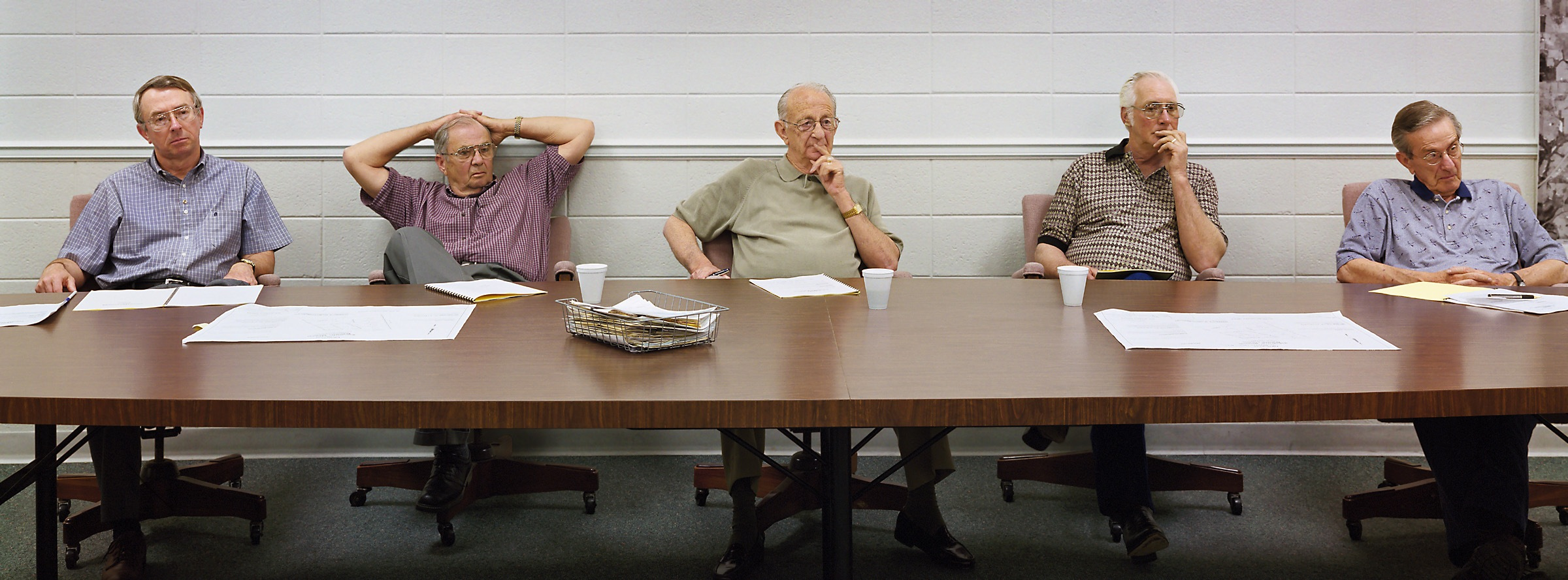 Marshfield, Missouri (population 4,508) Board of Aldermen, May 23, 2002 (L to R): Jack Watters, Jim Downing, C.R. Clark (Mayor), Talt Greer, Tom Owen, 2002.