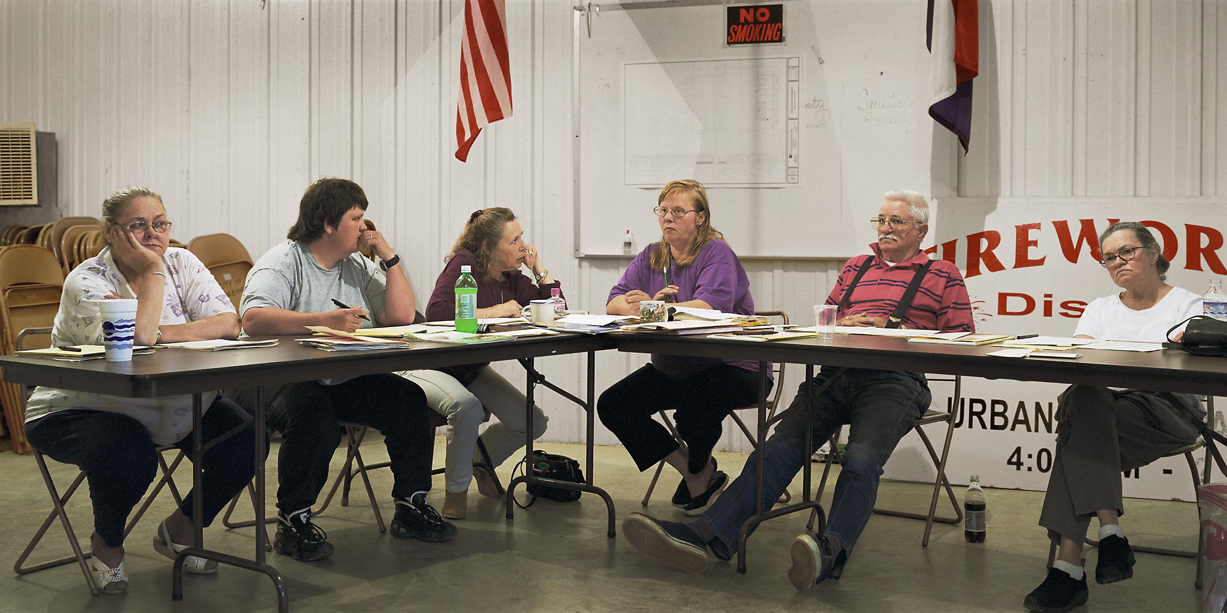 Urbana, Missouri (population 360) City Council, May 22, 2002 (L to R): Laura Hancock, Debra Glass, Teddy Hawthorne (City Clerk), Lynn Bailey (Mayor), George Meek, Lyn Kamien, 2002.