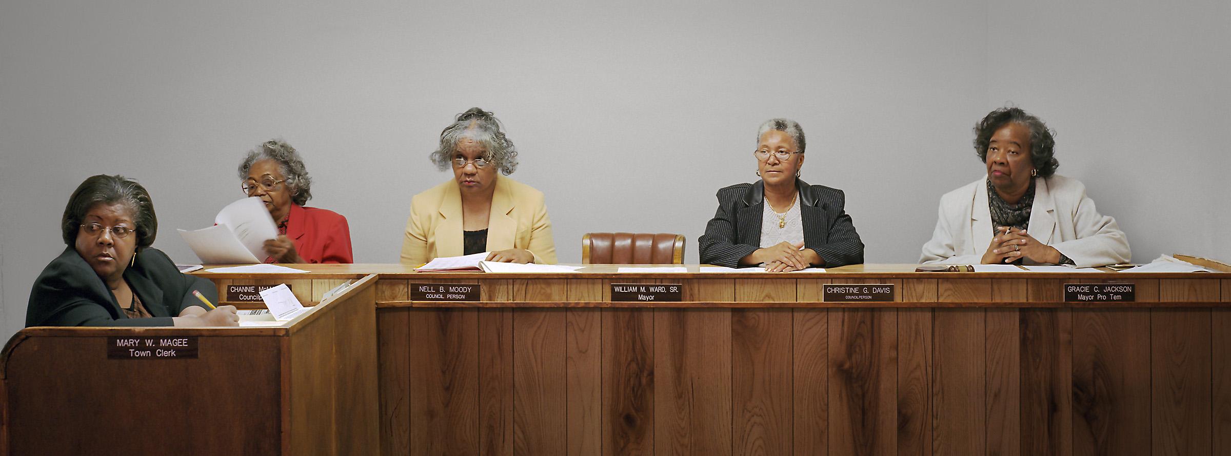 Dobbins Heights, North Carolina (population 936) Town Council, November 8, 2001 (L to R): Mary Magee (Clerk), Channie McManus, Nell Moody, Christine Davis, Gracie Jackson (Mayor Pro Tem), 2001.
