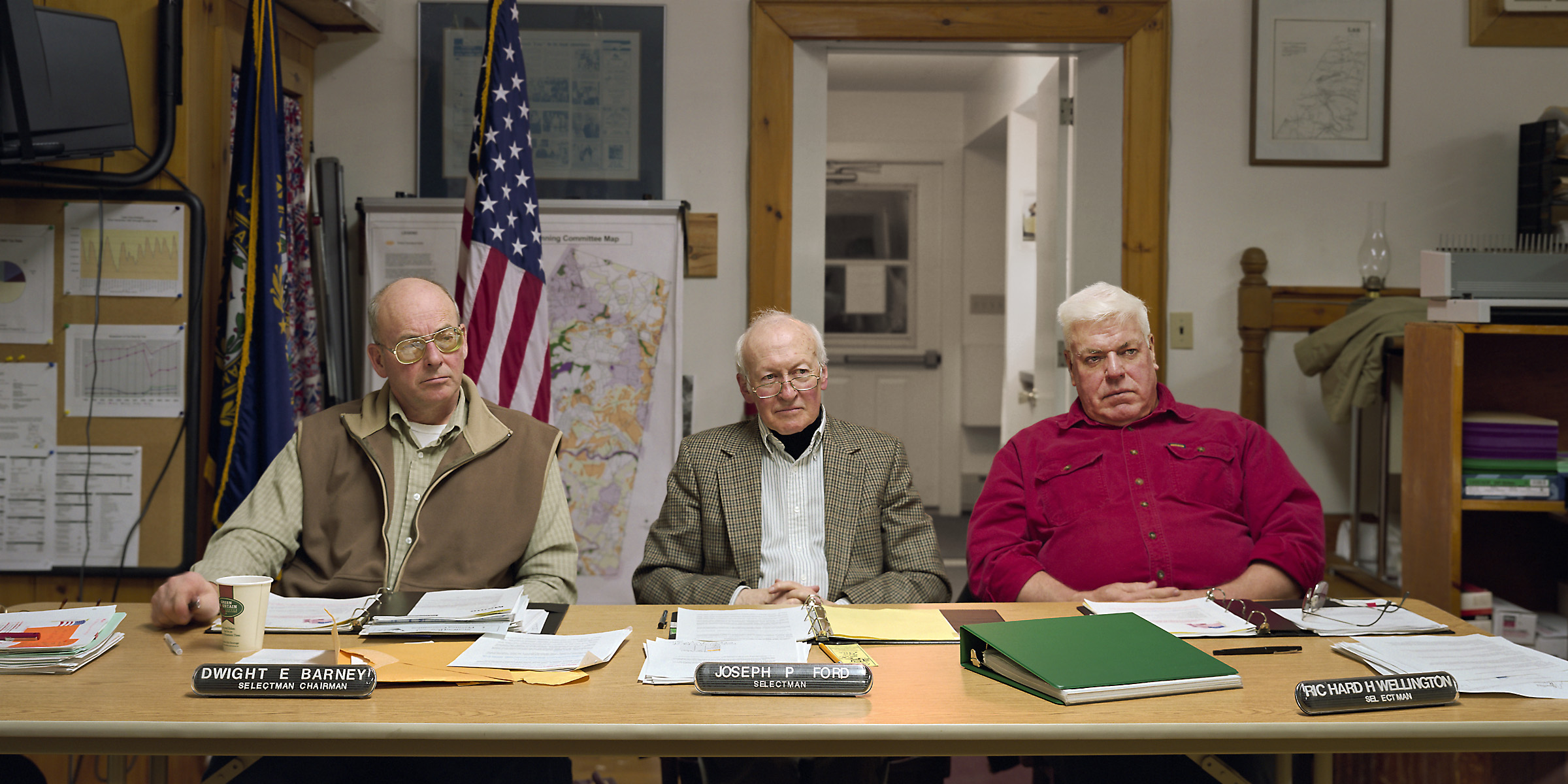 Lee, New Hampshire (population 4,145) Board of Selectmen, January 27, 2003 (L to R) Dwight Barney (Chairman), Joseph Ford, Richard Wellington, 2003.