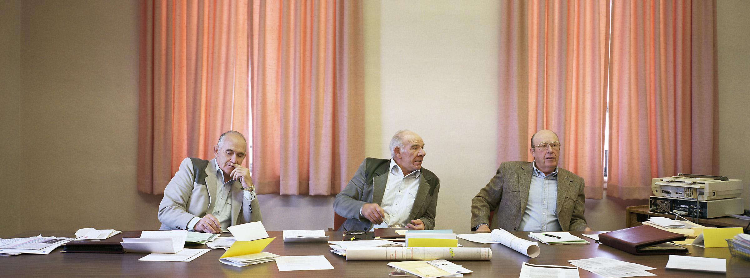 Wayne County, Utah (population 2,114) Board of Commissioners, April 5, 1999 (L to R): Scott Durfey, Clenn Okerlund (Chair), Stan Allen, 1999.