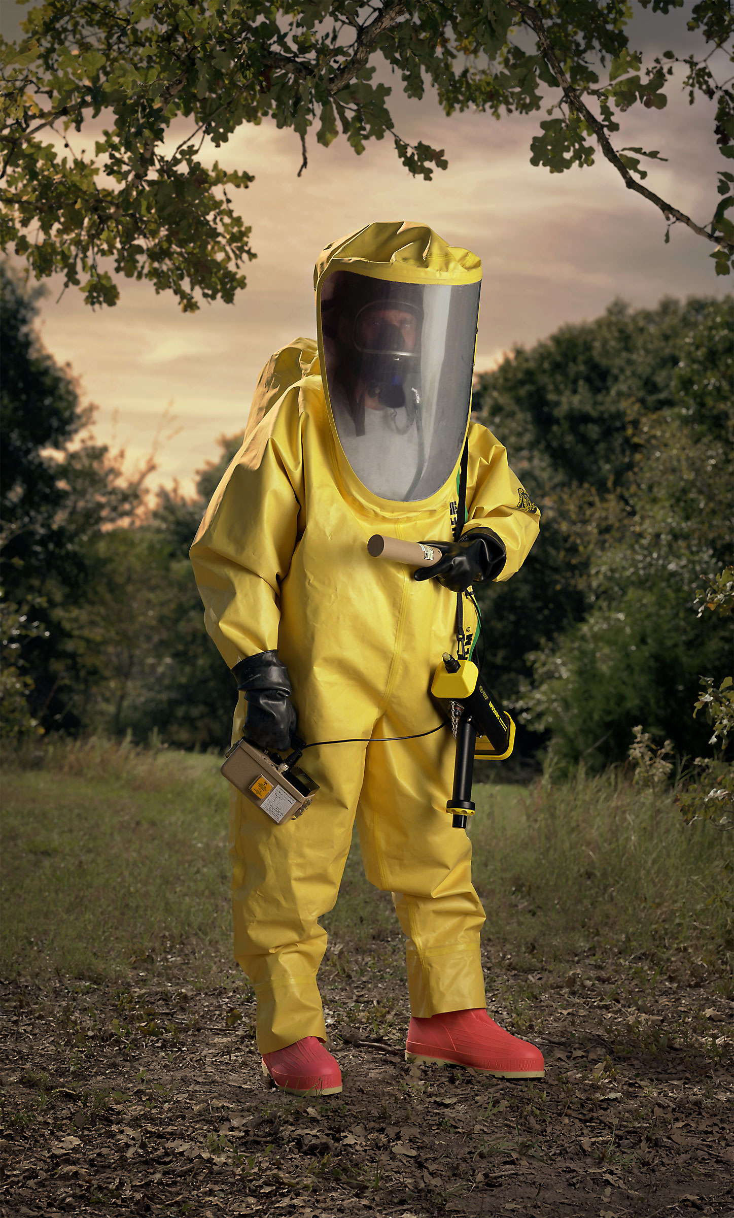 "Level A HAZMAT suit, yellow.. (""Disaster City"", National Emergency Response and Rescue Training Center, Texas Engineering and Extension Service, College Station, Texas)  2004."