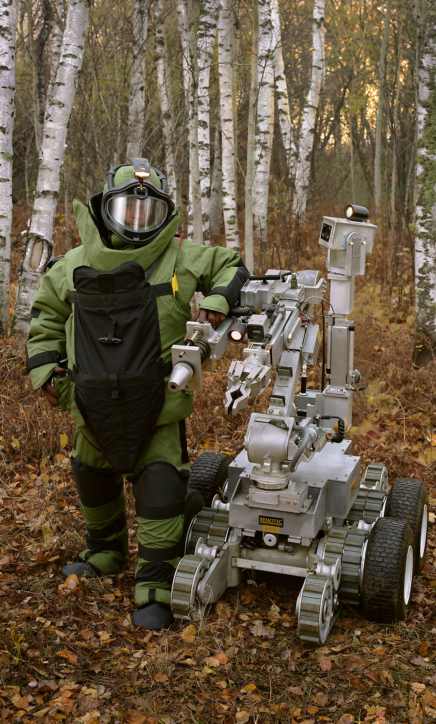 Bomb suit, robot. (148th Explosive Ordnance Disposal (EOD), Minnesota Air National Guard, Duluth, MN) 2005.