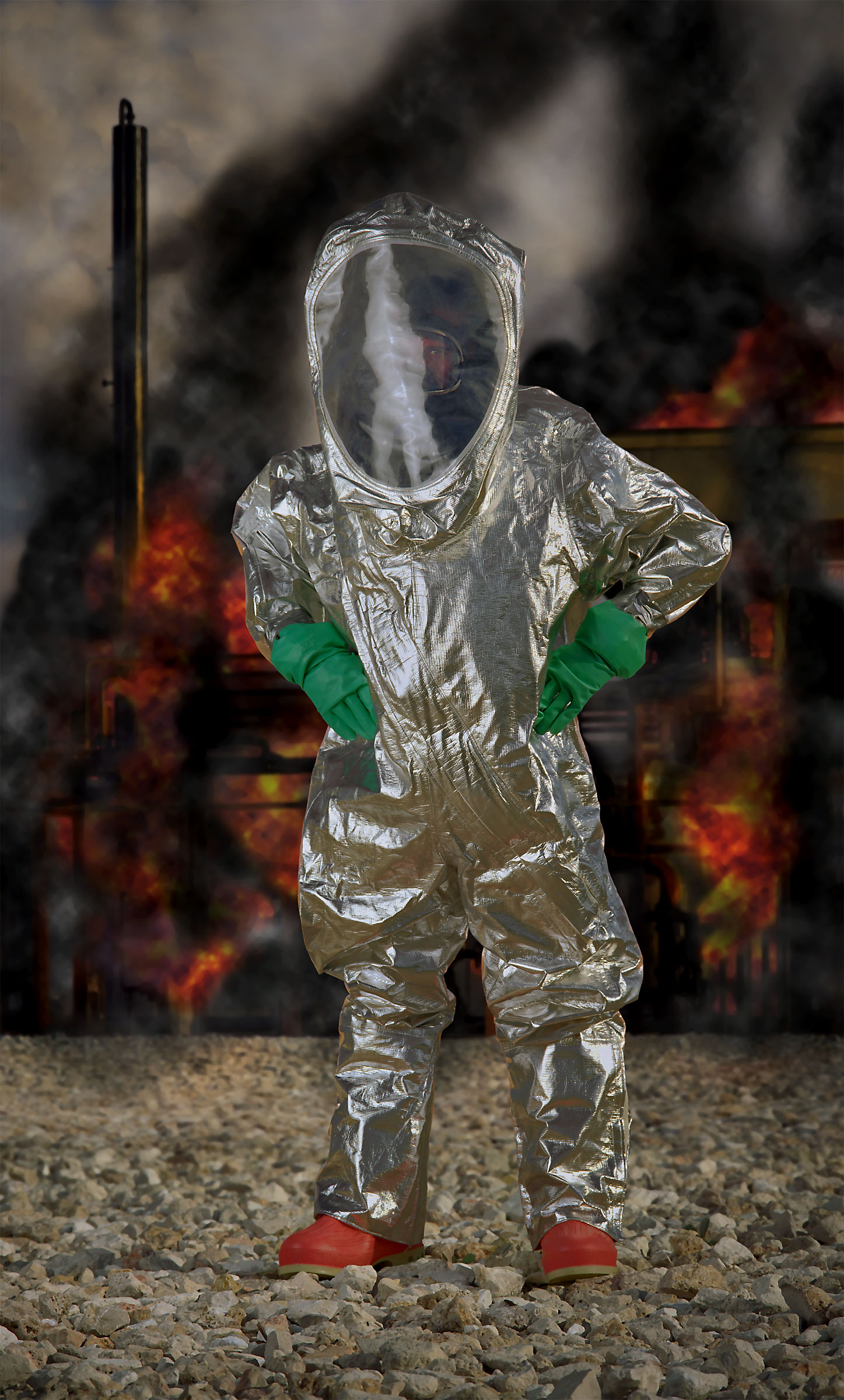 "Level A HAZMAT suit, aluminized (""Disaster City"", National Emergency Response and Rescue Training Center, Texas Engineering and Extension Service, College Station, Texas)  2004."