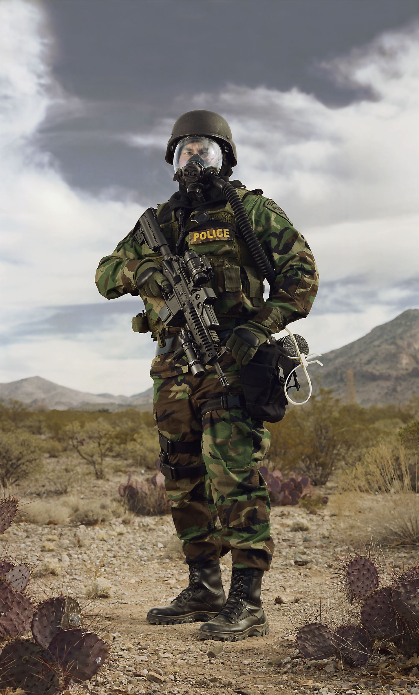 "Police SWAT, camouflage. (""Terror Town"", Playas Training Center, New Mexico) 2005."