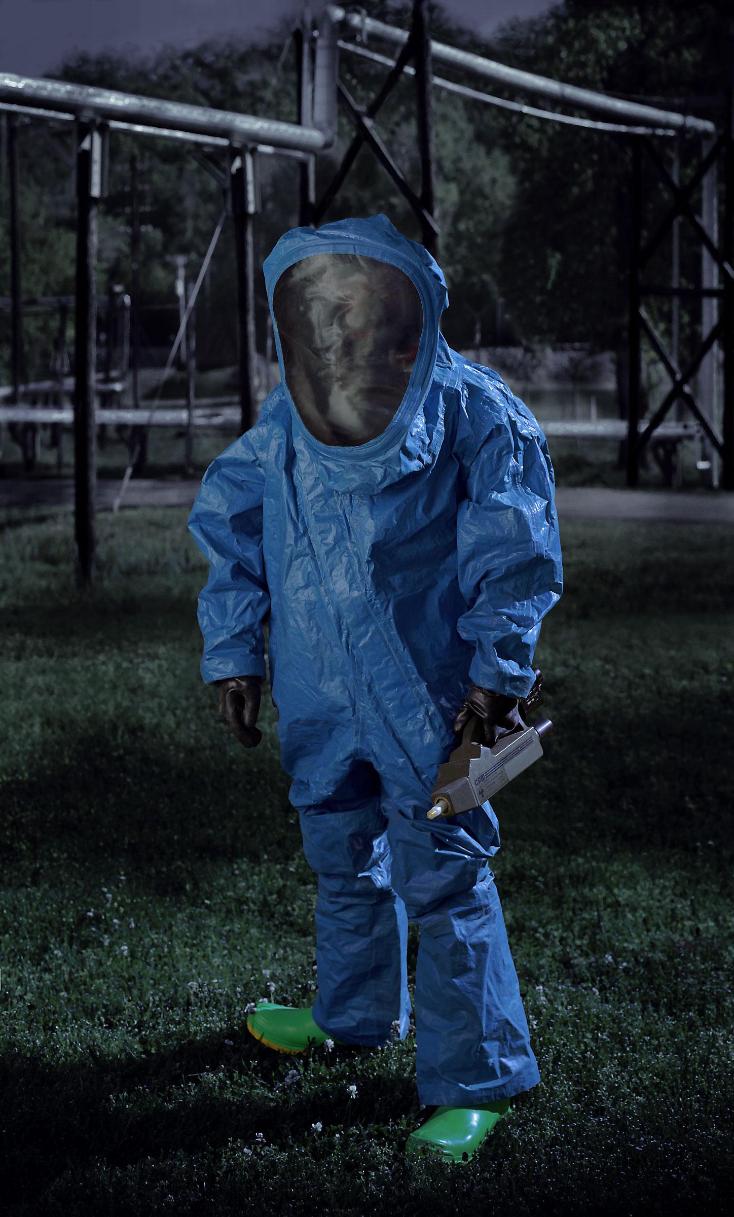 Level A HAZMAT suit, blue. (Ordnance Munitions and Electronic Maintenance School, U.S. Army, Redstone Arsenal, Huntsville, AL) 2007.