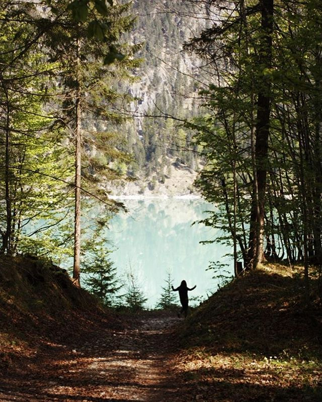 Happy girl jumping to lake. #lake #girl #forest #mjau