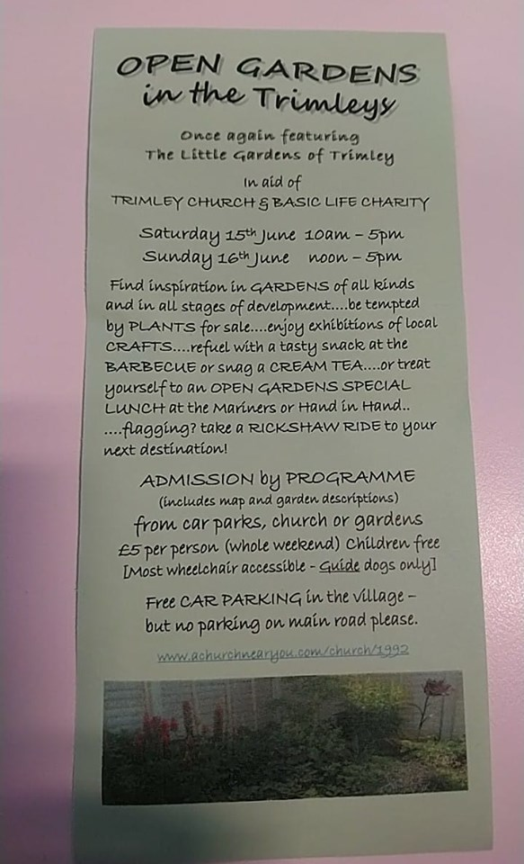 OPEN GARDENS in the Trimleys - In aid of TRIMLEY CHURCH & BASIC LIFE CHARITY. The Rickshaw will be available for hire between Gardens.