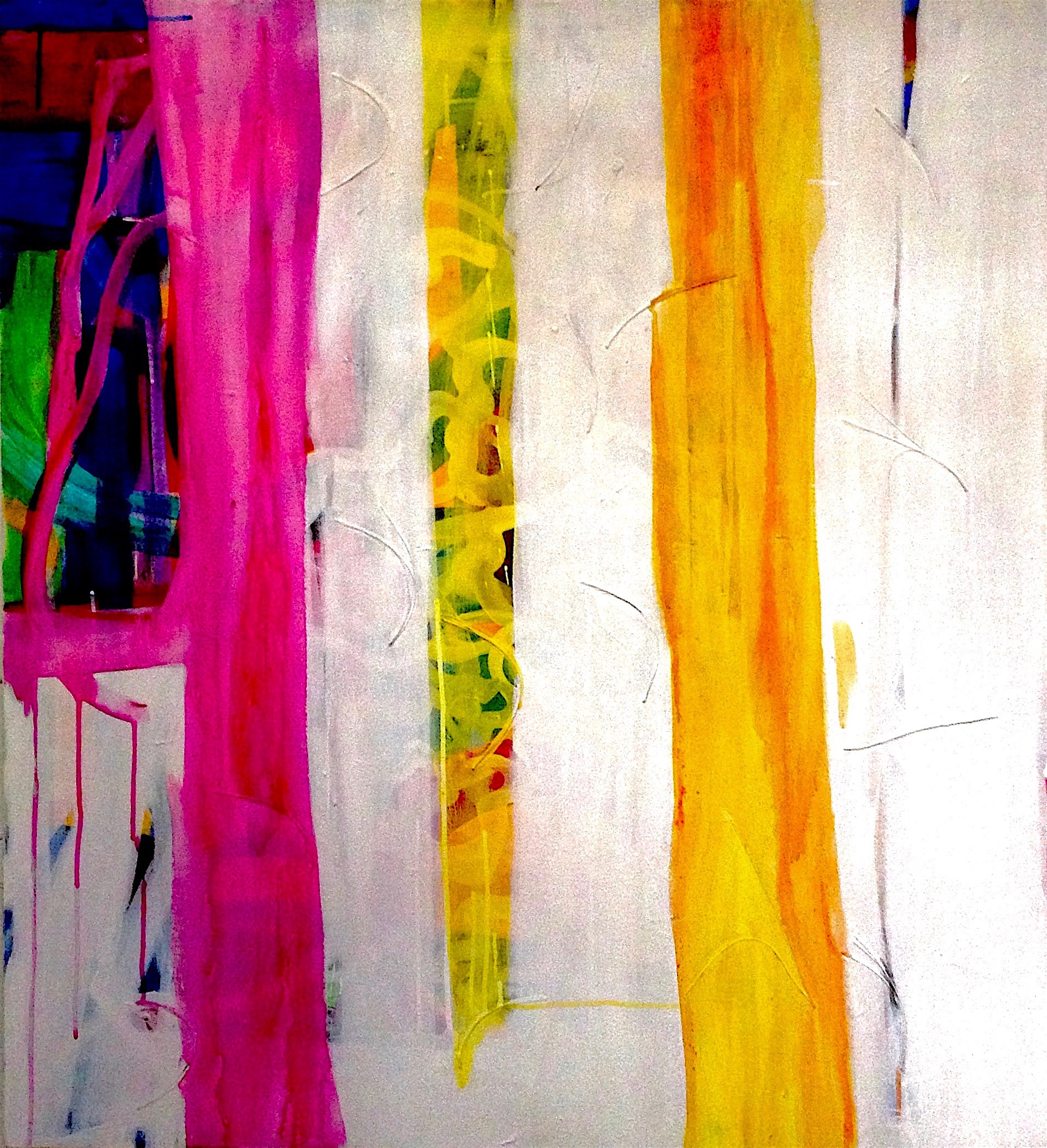 "T. Valla, Rainbow over Manhattan Pigment, elemental materials, acrylic on canvas, 36"" × 40"""