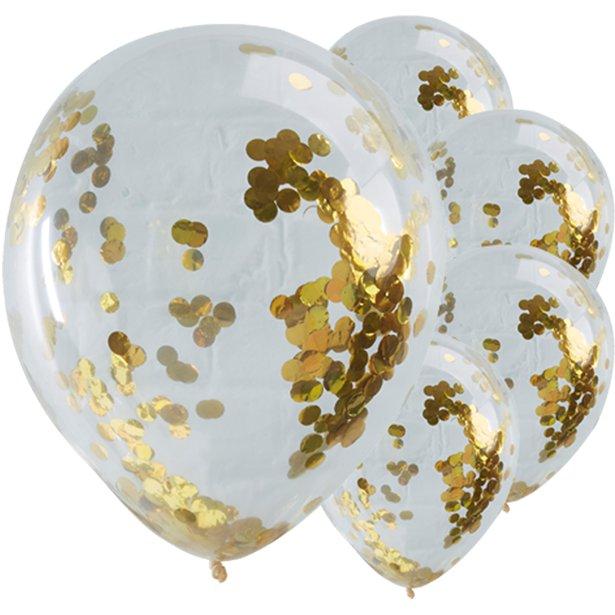 5 Goldkonfetti Ballons