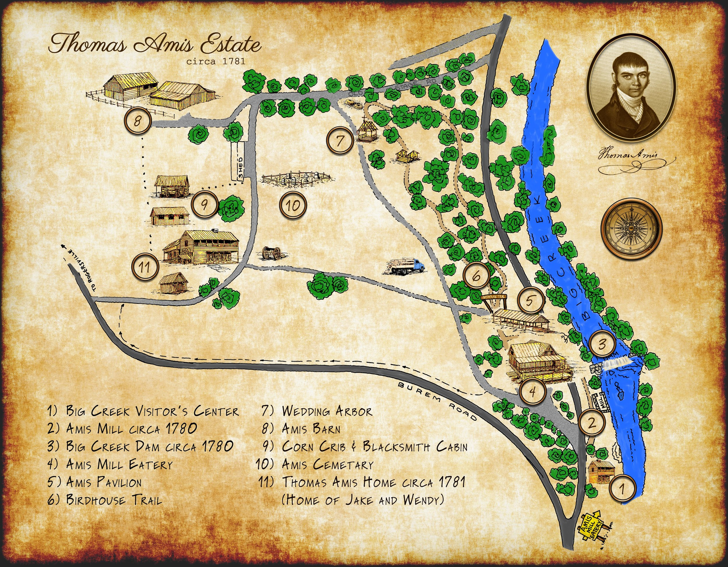Walk around and discover the history! - Start at the Big Creek Visitor's Center and walk around the entire historic estate, stopping at all the important historic buildings. We are happy to work with you to customize your experience from senior homes, bus tour, mystery tours, church groups, corporate events, and field trips. Your group will experience history through the ancestors of Thomas Amis!