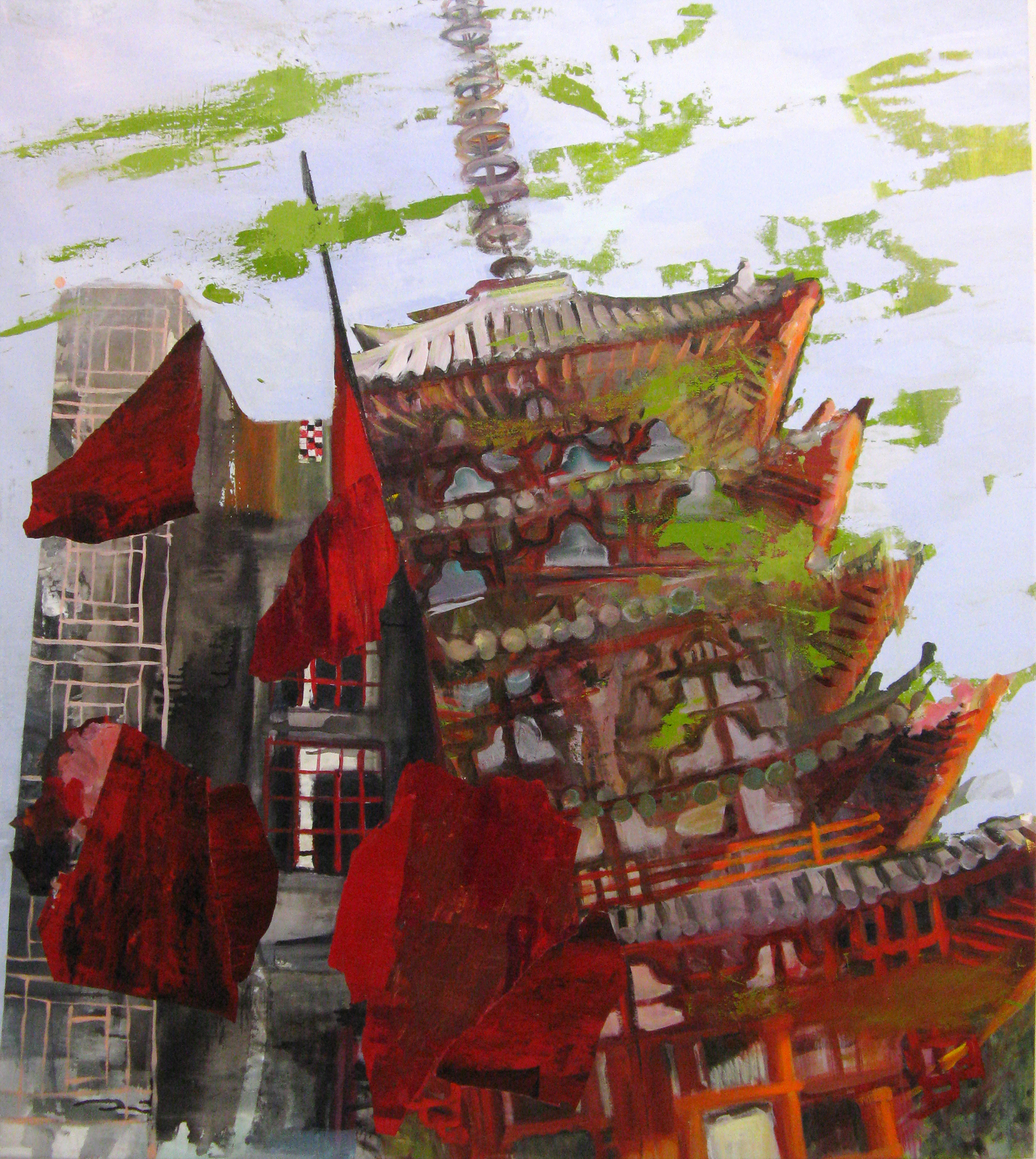 "Tilting Red Tower 66"" x 58"""
