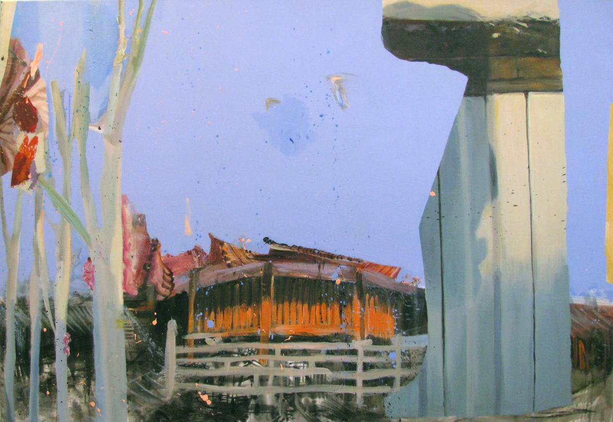 "Orange Temple 50"" x 72"""