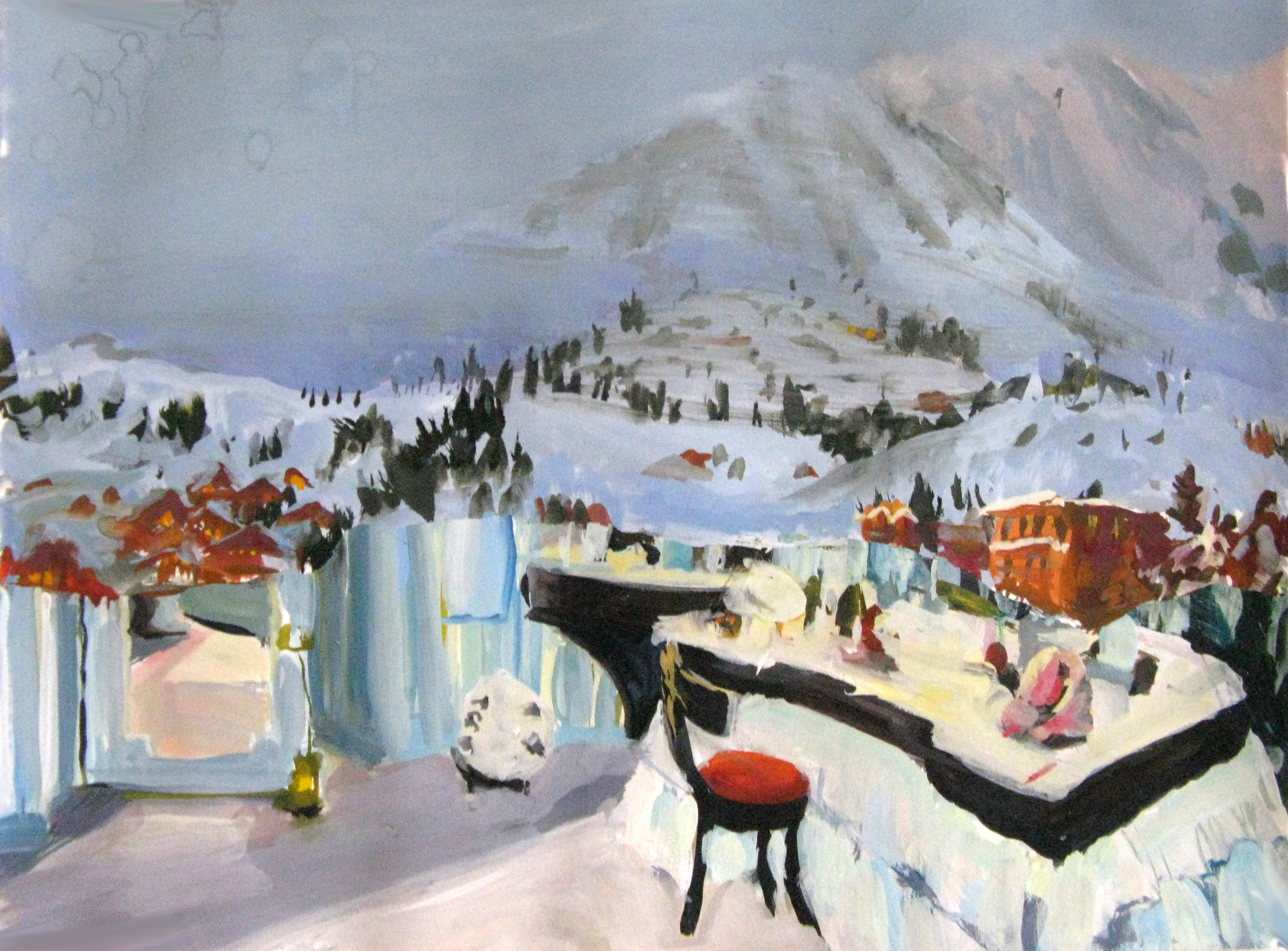 "Mountain Resort 11"" x 15"" gouache & watercolor"