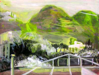 "Spanish Terrace 11' x 18"" ink & watercolor"