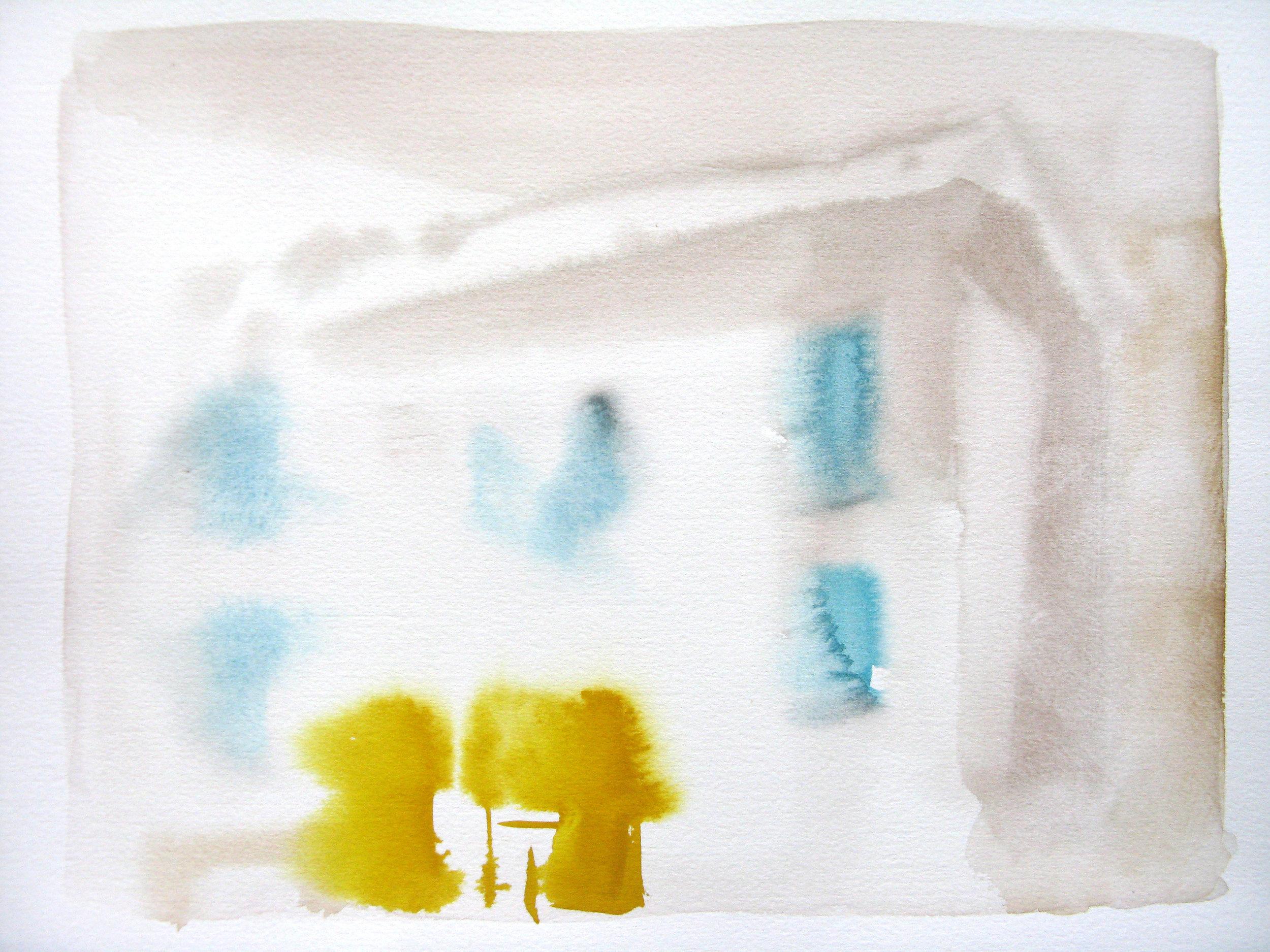 """Itri Piazza 15"""" x 11"""" watercolor"""