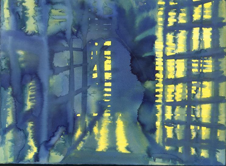 "Blue Warehouse 11"" x 15"" watercolor"