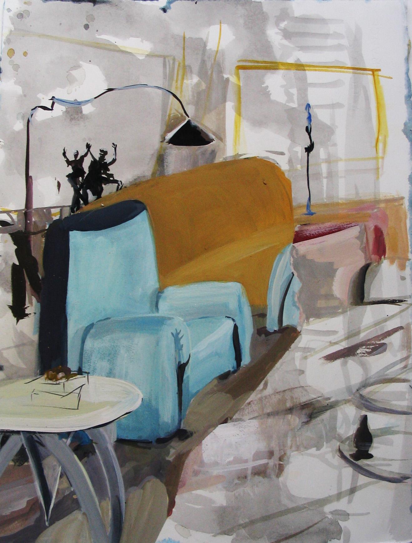 """Fat Blue Chair 15"""" x 11"""" gouache & ink"""