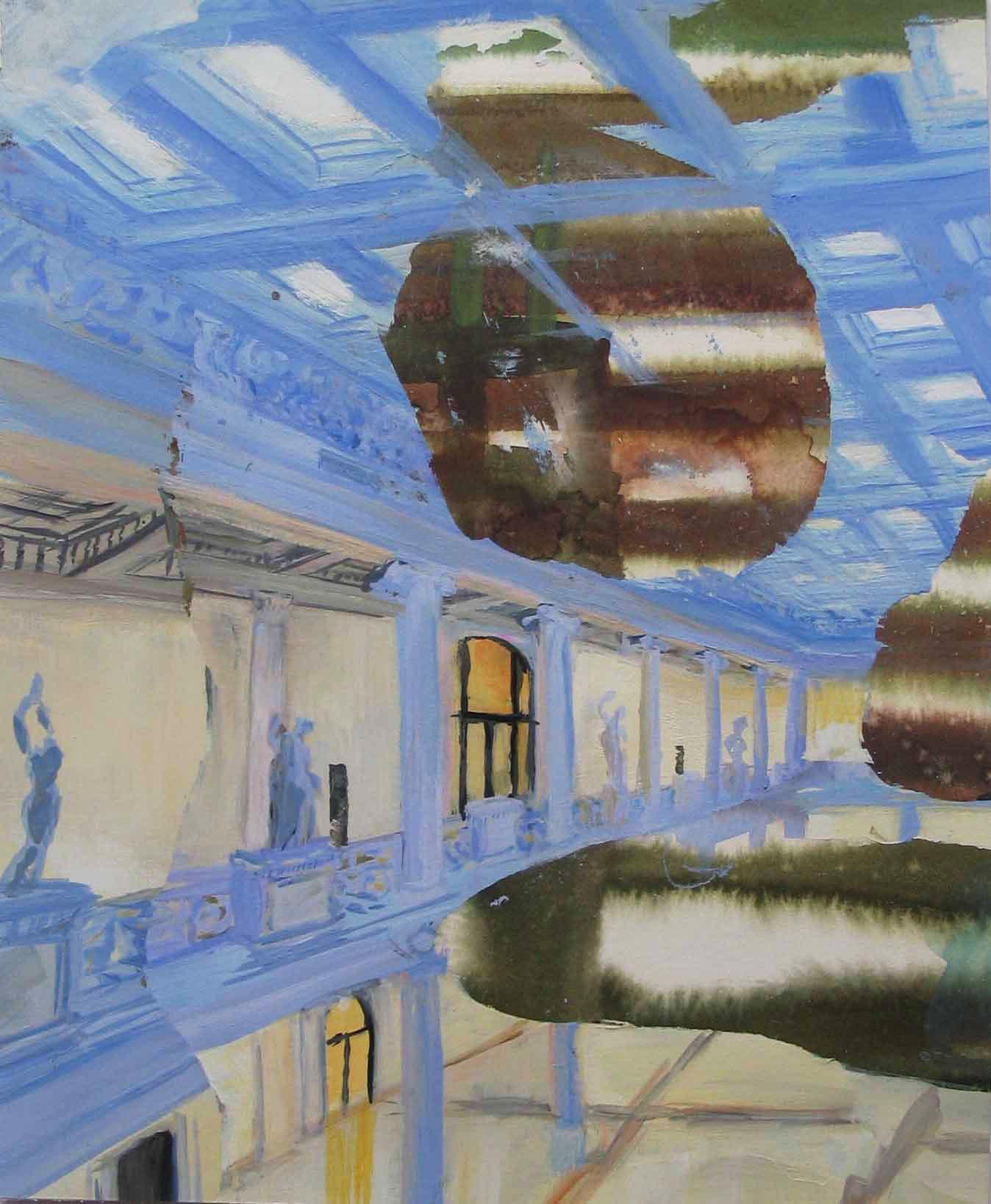 "Museum Getty 15"" x 11"" gouache & watercolor"