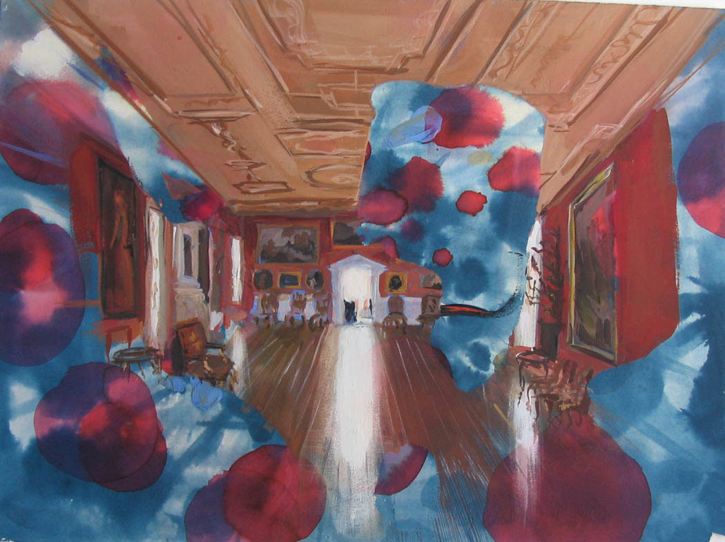 "Palazzo 11"" x 15"" gouache & watercolor"