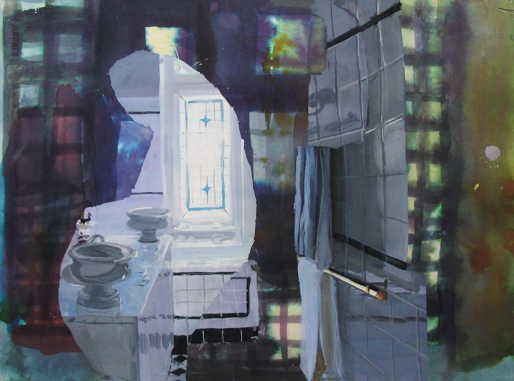 """Shiny Tiles 11"""" x 15"""" gouache & watercolor"""