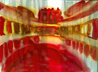 "Red Coliseum 11"" x 15"" watercolor"