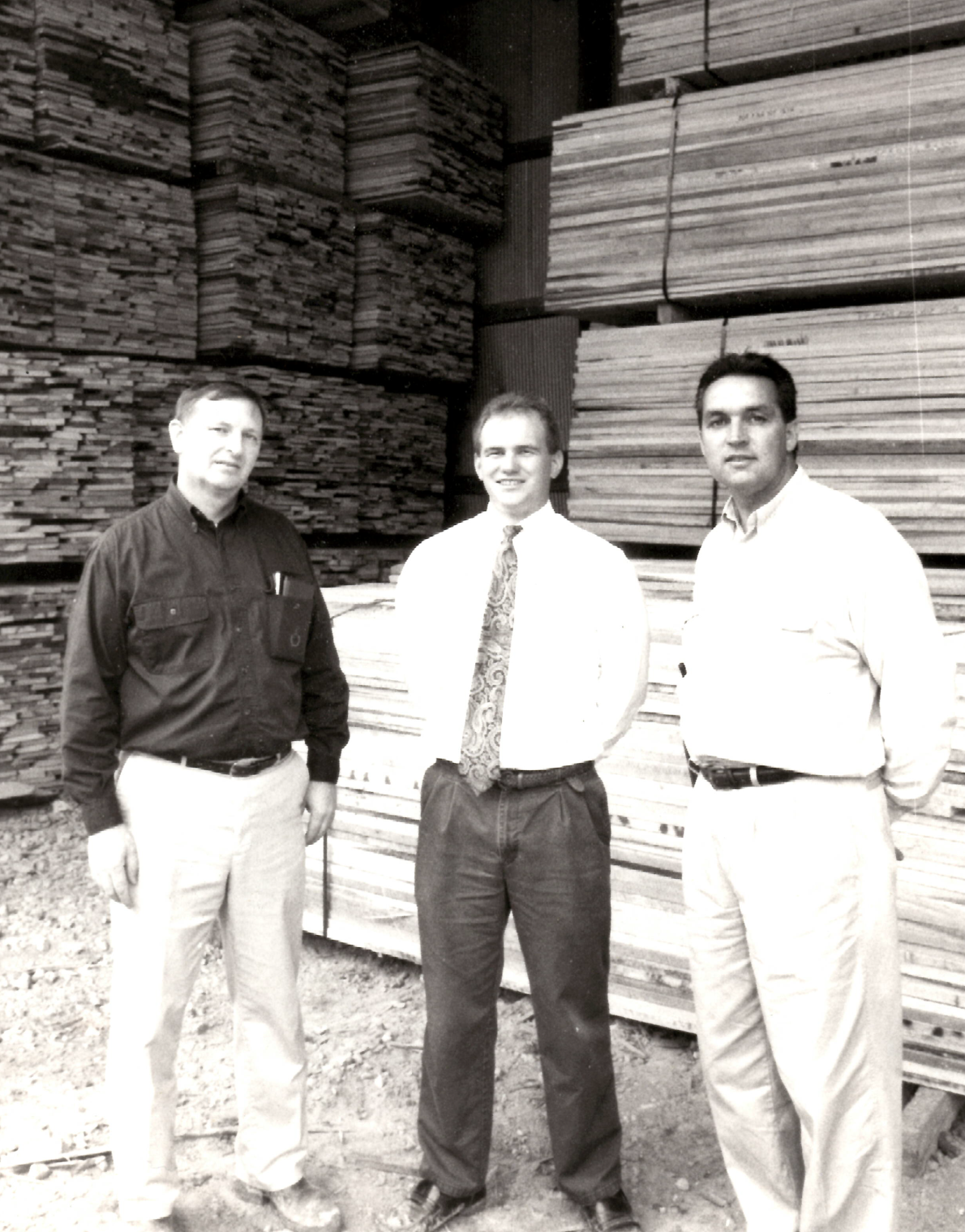 Parker Boles shown on the far right in one of Hermitage Hardwood's sheds in 1994.