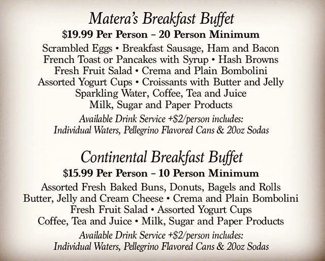 Just a small taste of our beautiful catering menu, call today for breakfast, lunch or dinner!  Available on web and in store!  Grazie.  #materascateringcompany
