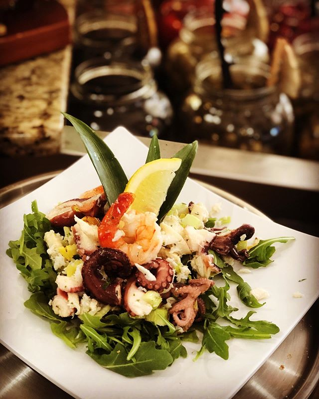 Fresh from the sea...Insalata di Mare today with Housemade lemon 🍋 vinaigrette!  Soup of the Day Sausage & Shrimp Gumbo-$4.95/$8.95  Sandwiches Housemade Porchetta, Mimmo's Fresh Mozzarella & Arugula. On Ciabatta Dipped in Au jus-$11.95  Ham, Salami, Fresh Mozzarella, Lettuce, Tomato, Red Onions, Salt, Pepper, & Oregano. On Semolina-$7.95  Chipotle Chicken Pepper Jack, Lettuce, Tomato, & Onion w/Vinegar & Oil Served on Italian-$7.95  Wrap New Item----Boars Head Hawaiian Turkey Fresh Mozzarella & Arugula finished with Red Wine Vinegar & Oil On Your Choice Of Whole Wheat, Plain, Tomato Basil, Or Spinach Wraps-$7.95  Insalata Insalata di Mare Over Arugula - Fresh Seaffod Salad Over Arugula with Housemade Lemon VInagrette $10.95 #materasonpark #TheLoft07070 #livework07070 #livematera #mangiamo #materascateringcompany #cheeseshop #bestinjersey #njeats #Matera2019 #CapitaleEuropeaDellaCultura2019 #summer2019 #materastraveling