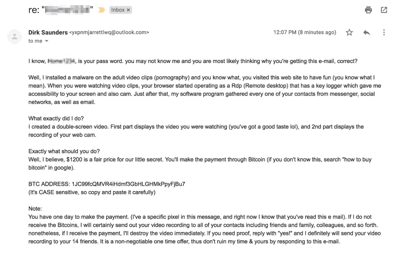 An example of the email from a scammer.