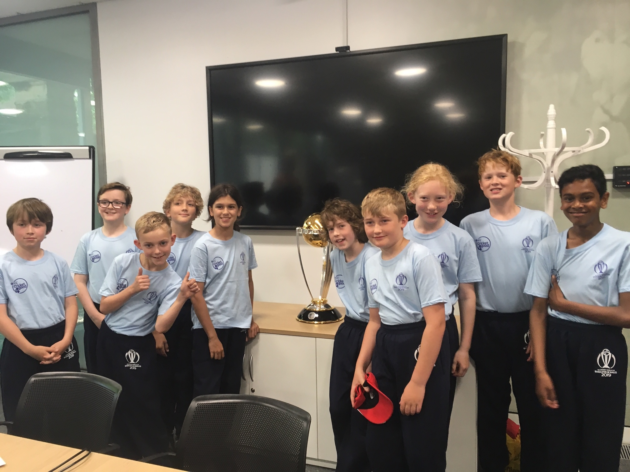 Stokey U11Bs at Lord's with the World Cup!