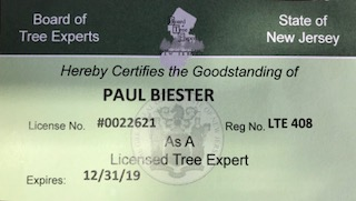 Tree Care companies MUST possess and LTE or LTCO # and card to legally be able to practice tree work in NJ