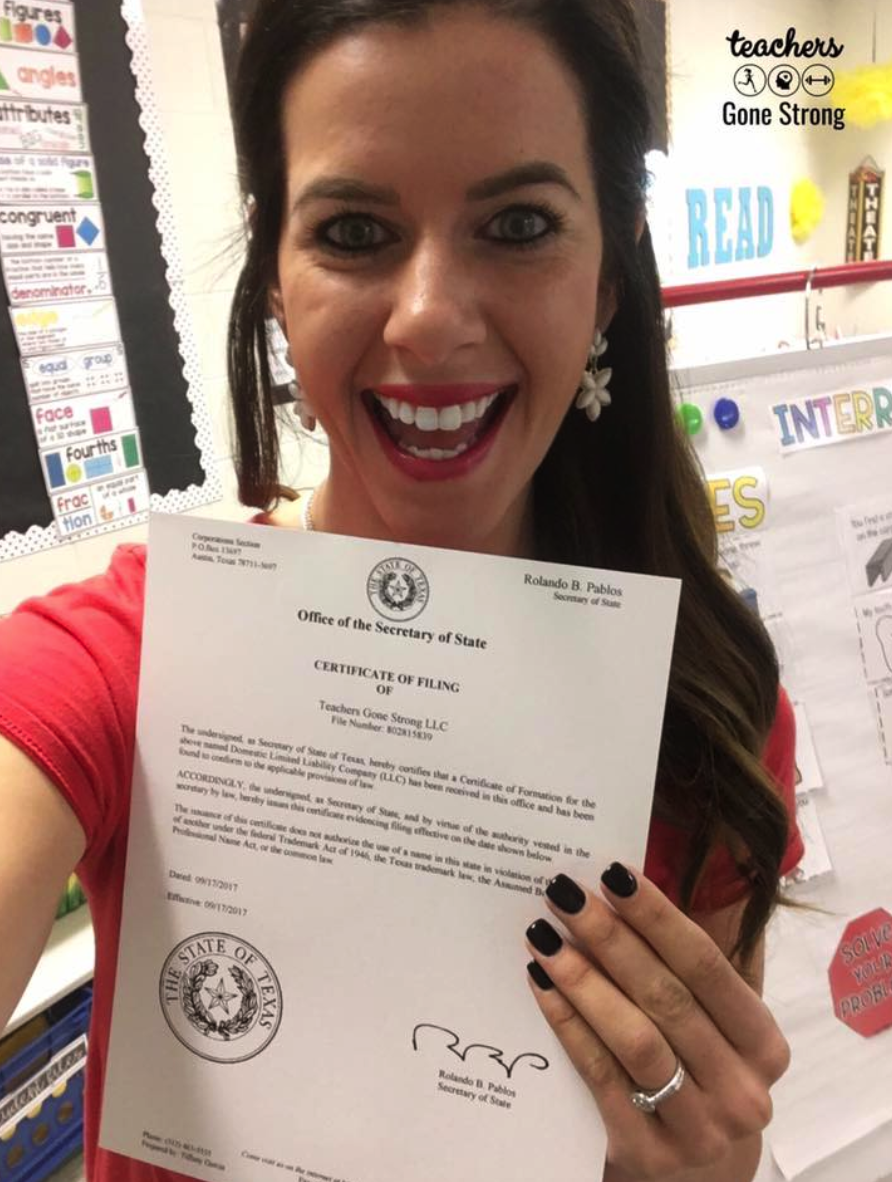 When Teachers Gone Strong first became an LLC. Again, had NO idea how to do this- but I figured it out!