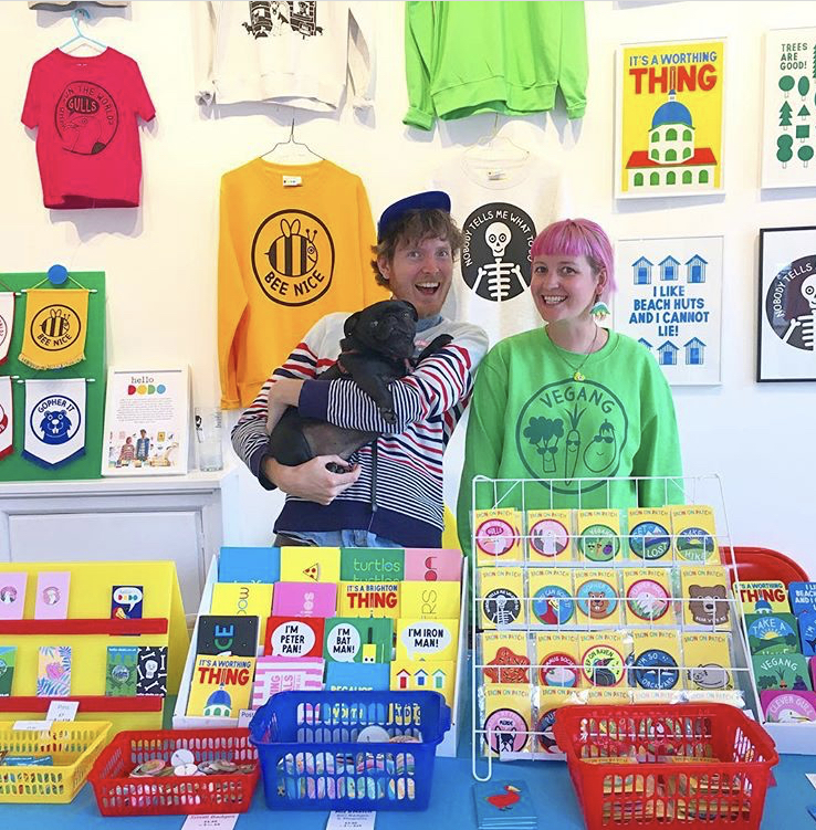 Ali, Jam and Hero the pug, in their Worthing pop up shop Hello Dodo Land. Photo credit: Hello Dodo