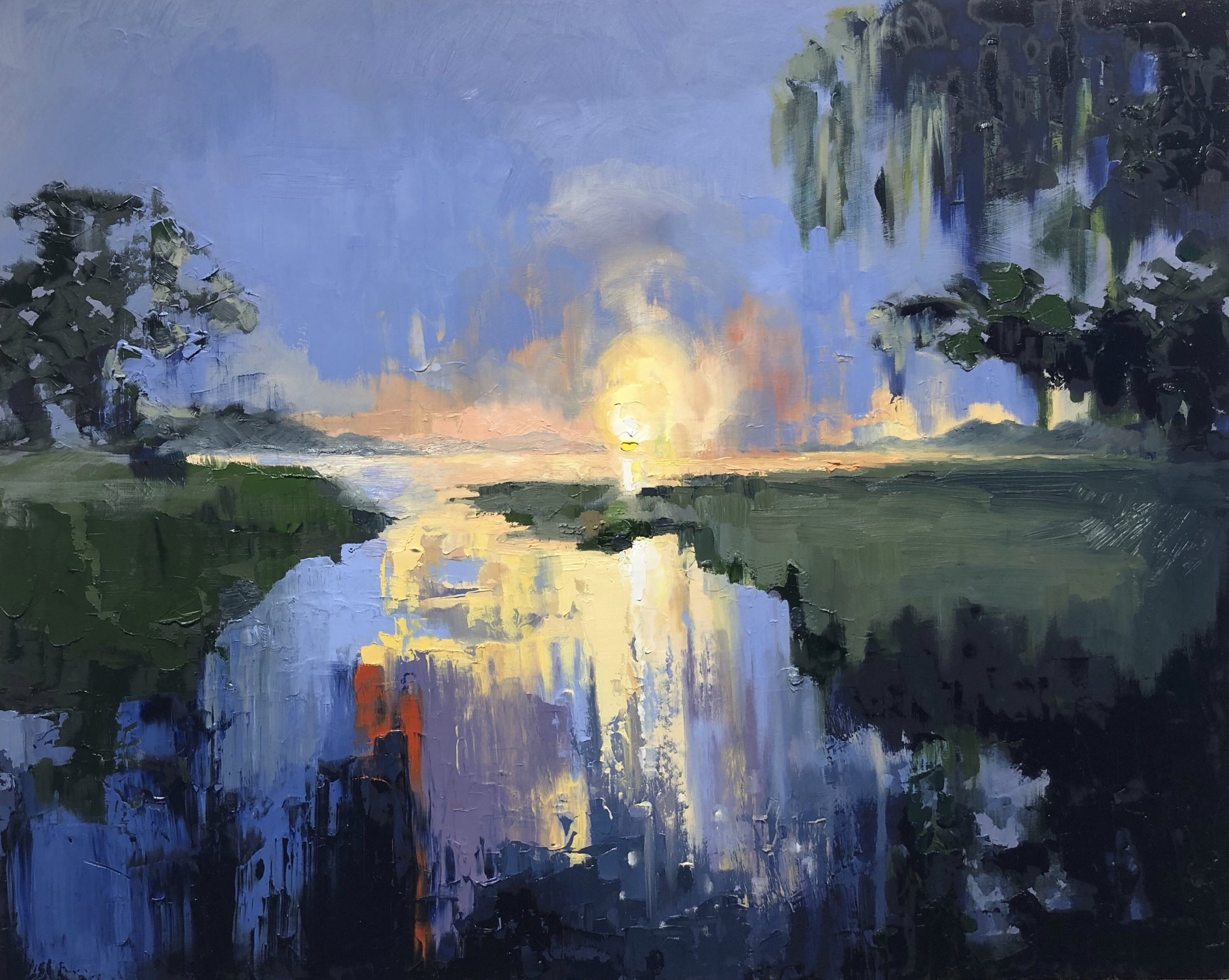 Wilmington River at Dusk   2018  24 in X 30 in  oil on panel