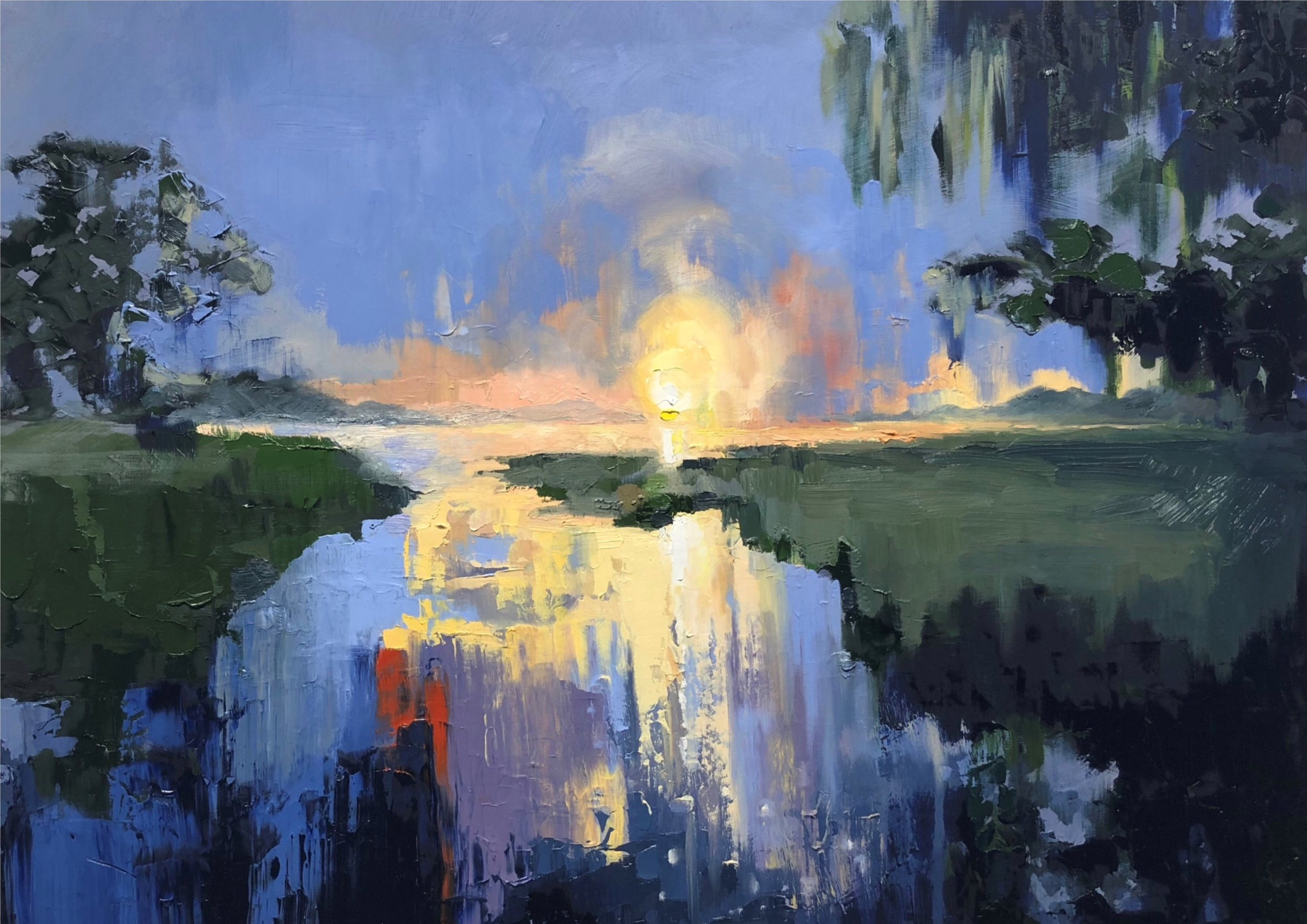 Maggie Roof,  Wilmington River at Dusk , 2018, oil on panel, 24 in. X 30 in.