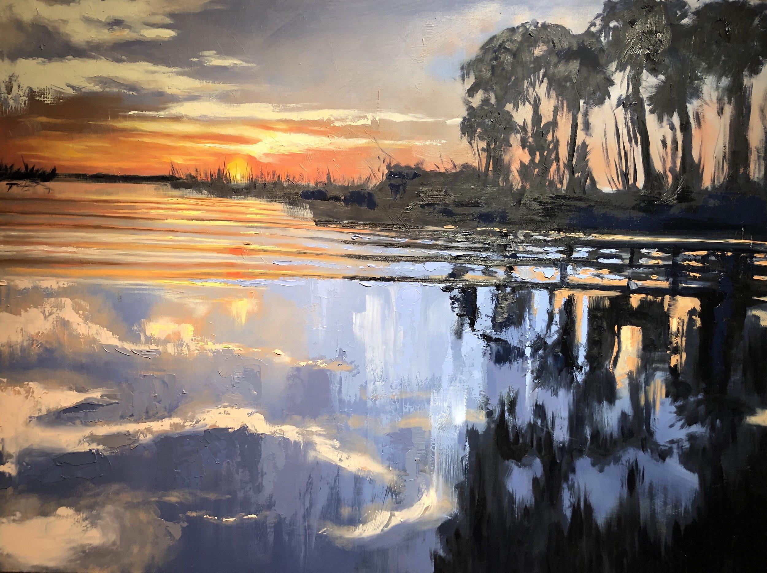 Savannah Sunset   2019  30 in. X 40 in.  oil on panel