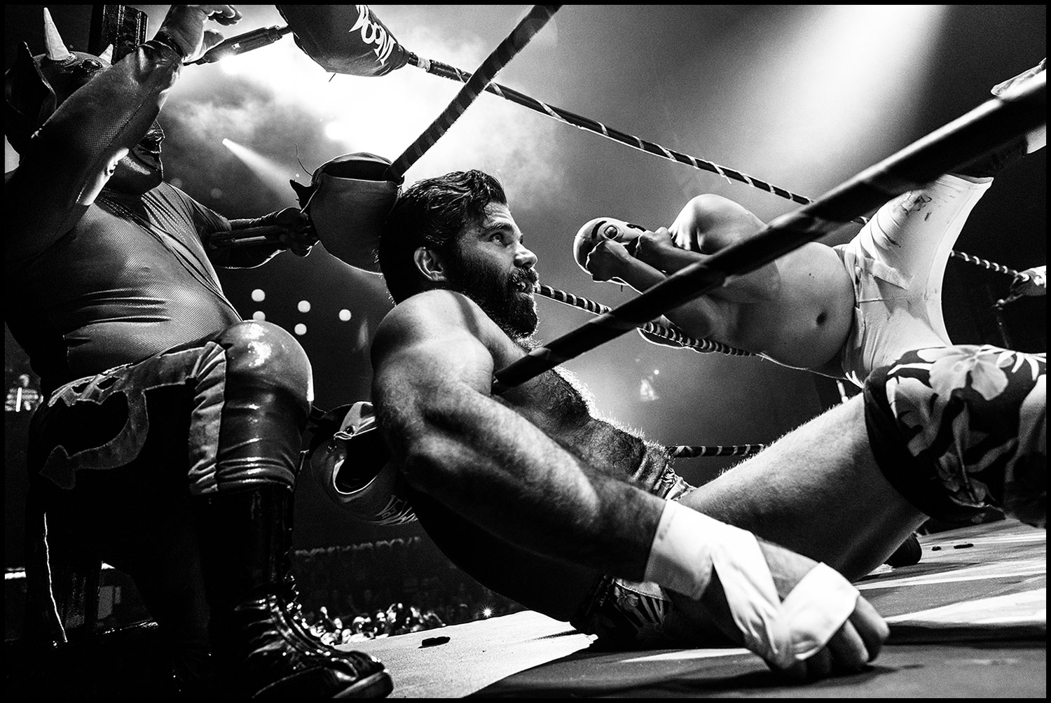 Down and Dirrrty  (Los Angeles, CA) 2018 // Joey Ryan catches his breath moments after an ass-to-face smackdown from none other than Dirty Sanchez, who is seen here falling out of the ring with his dukes up. Lil Devil watches safely from outside the ropes.