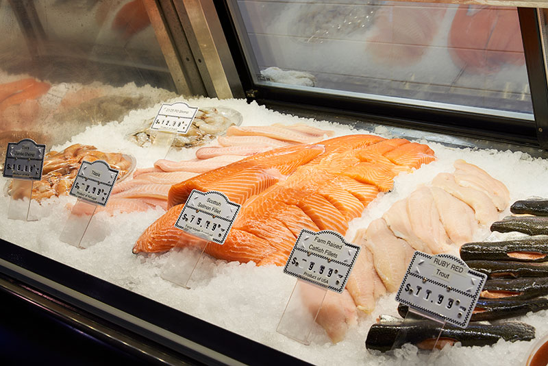Fresh seafood selection from Groomer's Seafood supplier in the Meat & Seafood section at Bayside Fresh Market.