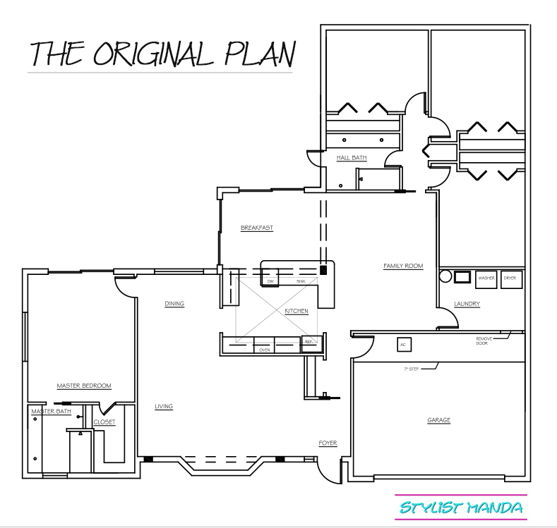 Whole house 3D planning in Sketchup is the perfect way to visualize your next home renovation. Here is the original plan which was changed to an open living space!