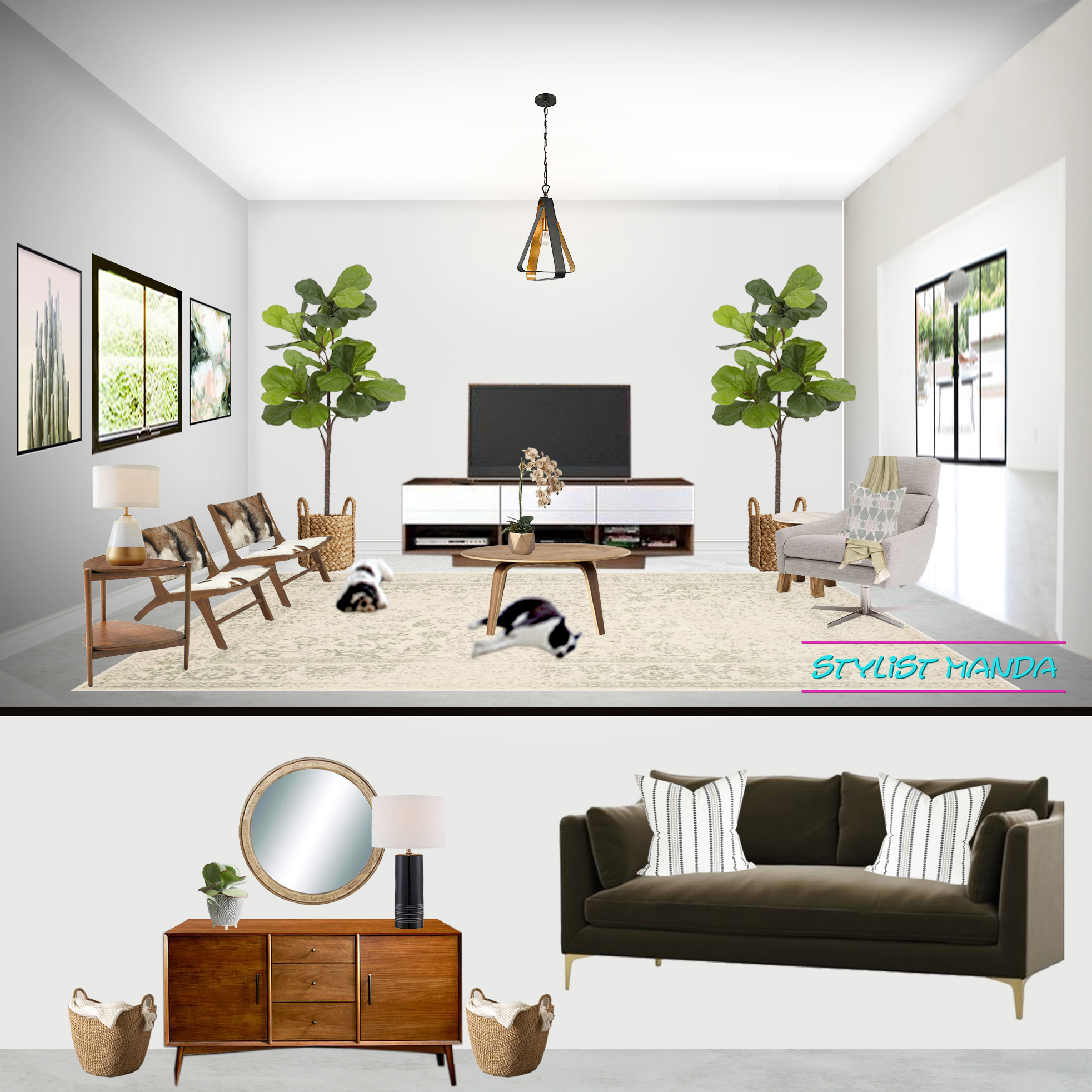 Open and airy living room with a relaxed Cali vibe and boho accessories #edesign