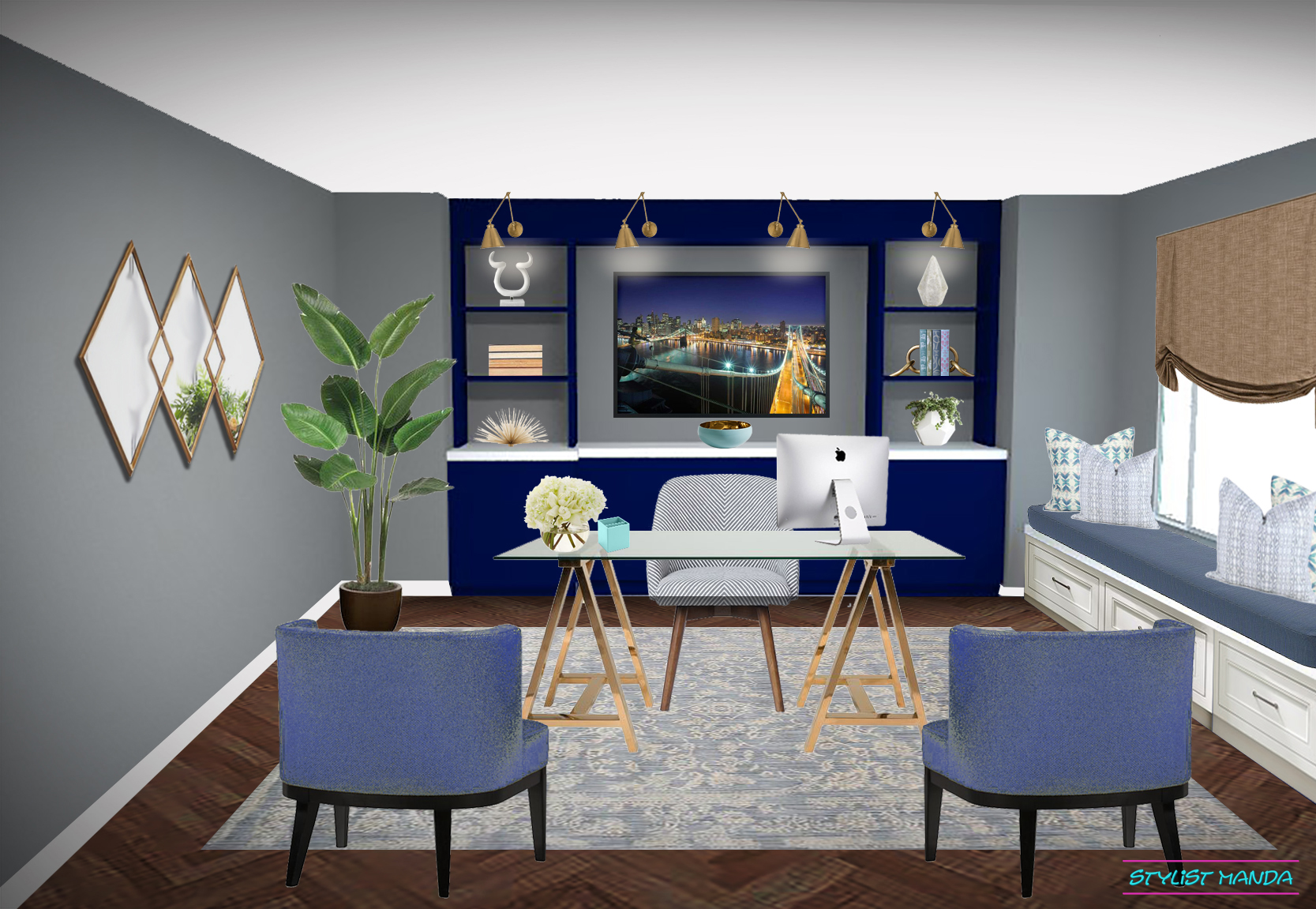 Home office interior design inspiration with a custom credenza to display art and a window seat #edesign