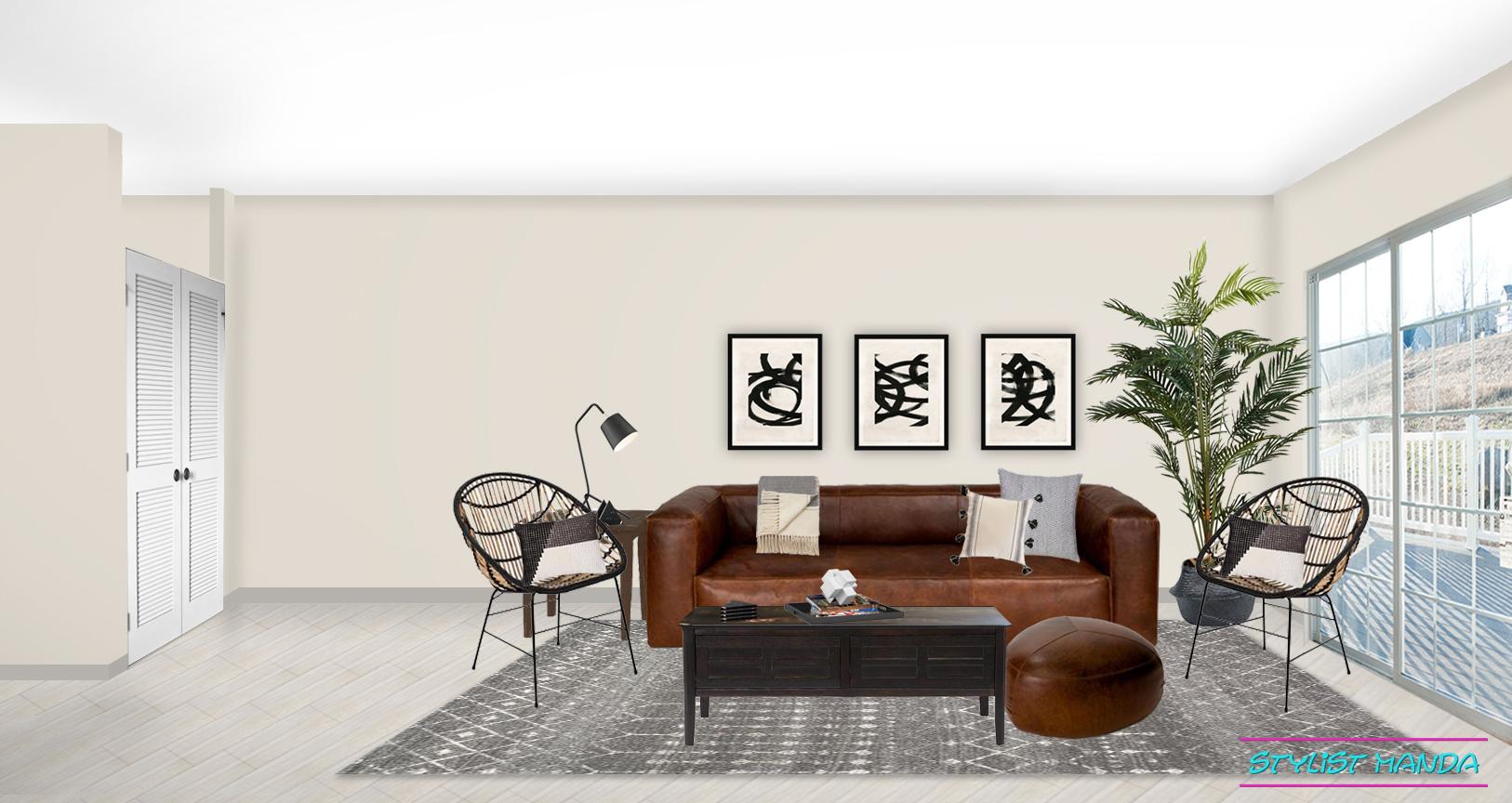 Masculine Living Room Design on a budget #edesign