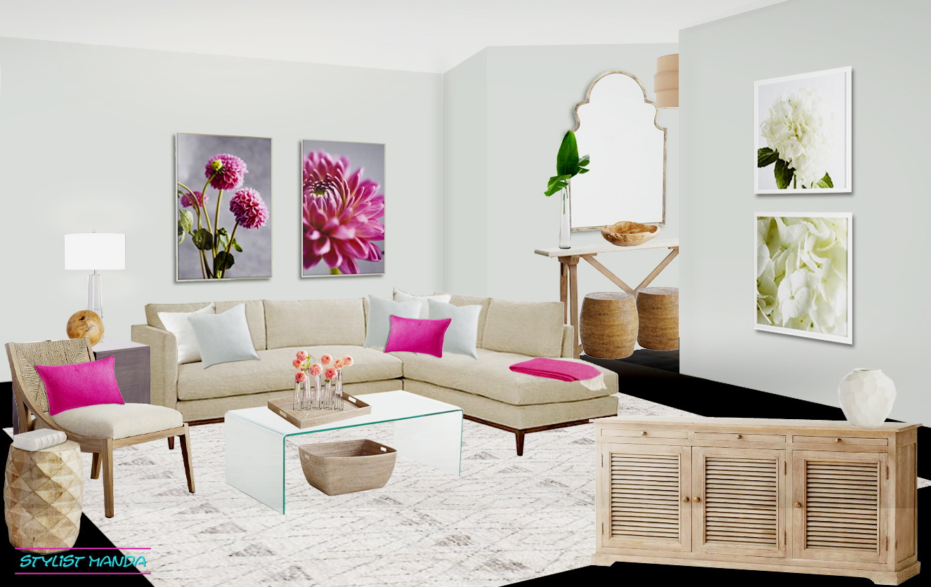 Soft feminine living room design with links to purchase.