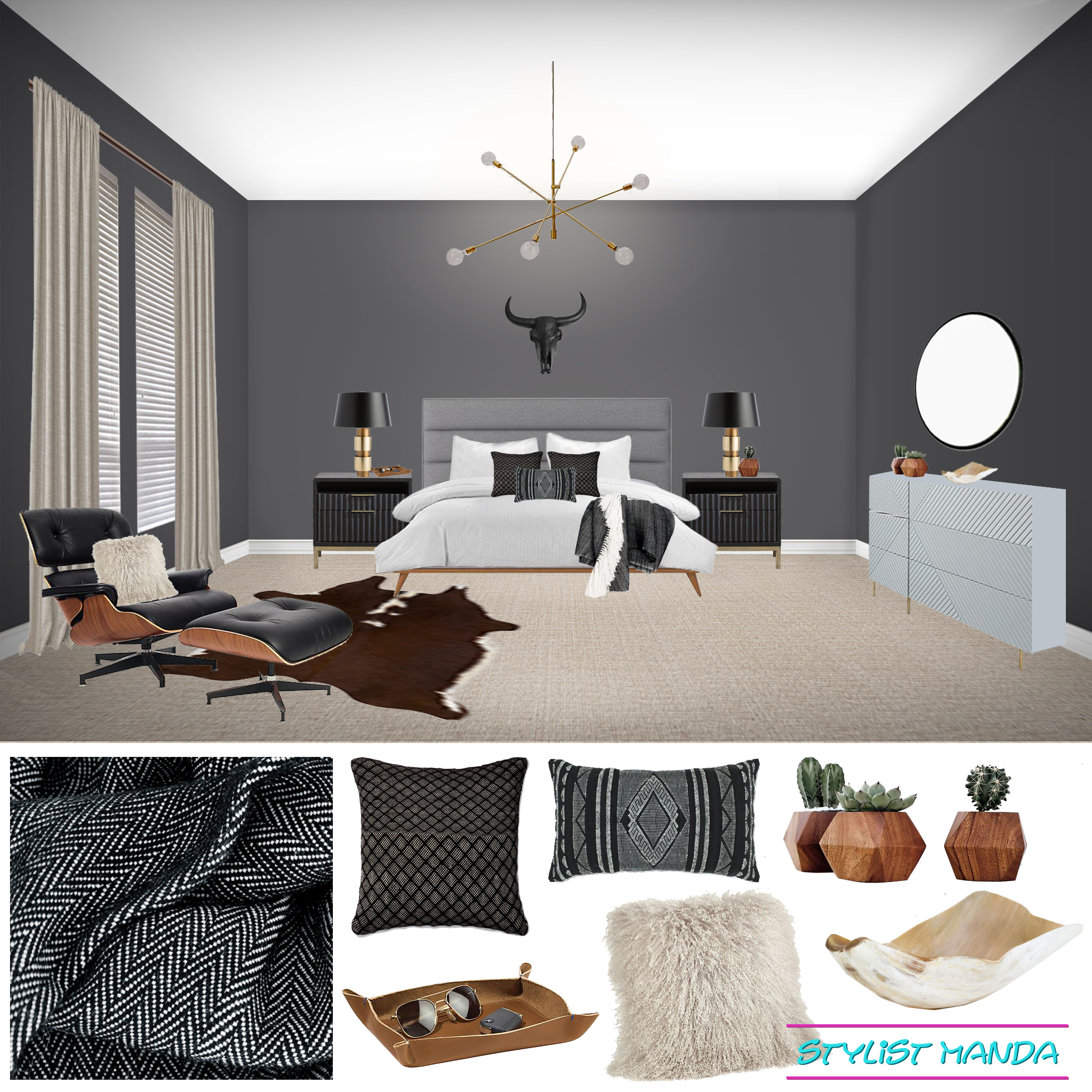 A Manly Bedroom E Design Stylist Manda